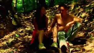 Forest becomes duo more location for sex with a nasty in force age teenager hottie