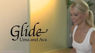 Ava together with Uma's awesomely wet together with slippery massage sensation